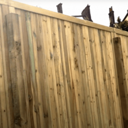 An acoustic fence in a garden