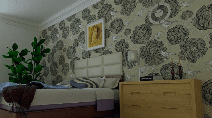 A room with soundproof wallpaper installed