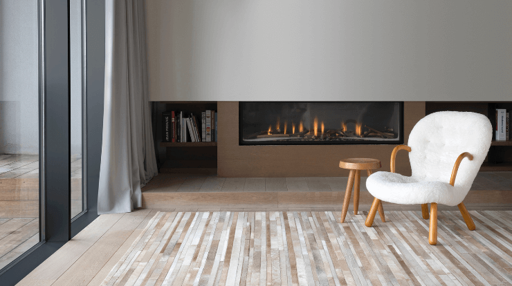 A quiet electric fire in a room