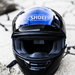 A front shot of a motorcycle helmet