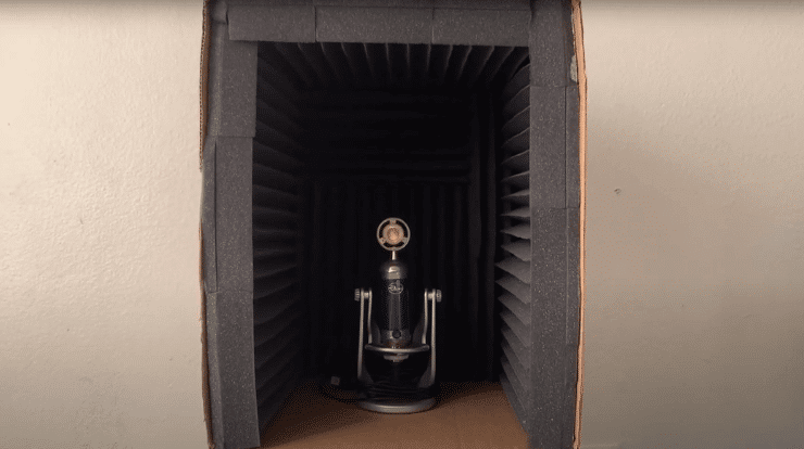 A microphone in a soundproof box