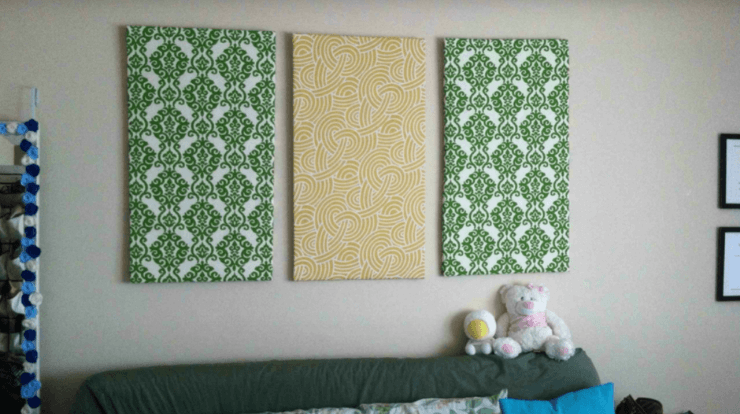 Wall art to reduce echo in a room